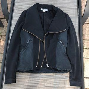 Helmut Lang Denim-Paneled Cotton-Jersey Jacket